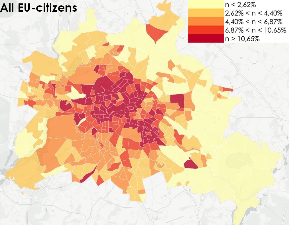Where in Berlin do non-German EU citizens live?